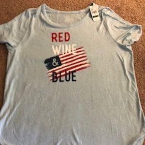 NWT Red Wine Blue Lane Bryant Tee 14/16